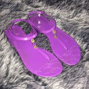 💜COACH Purple Jelly Thong Sandals 9